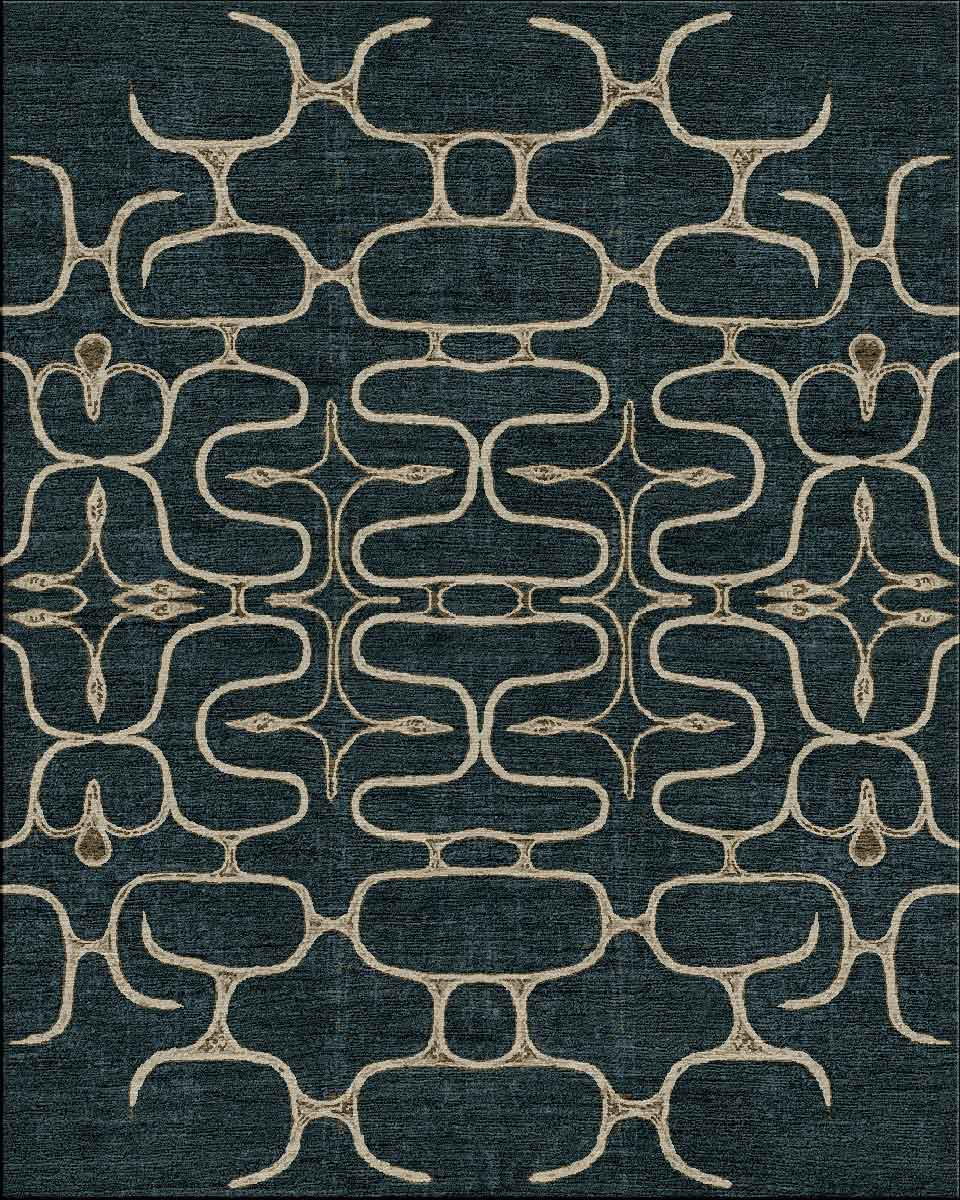 Ainu II in Indigo and Taupe (Visualization) | Image courtesy of Robin Gray Design