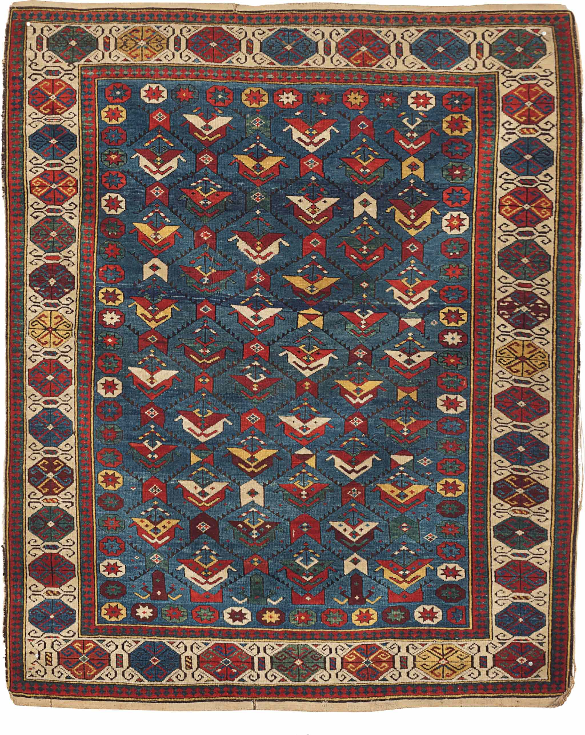 An East Caucasian Kuba Rug, circa 1880, approximately 4 ft. 4 in. x 3 ft. 5 in. Property from the Birmingham Museum of Art. Estimate: $8,000-12,000 (USD), Sold 31 March 2016, for $8,125 (USD).