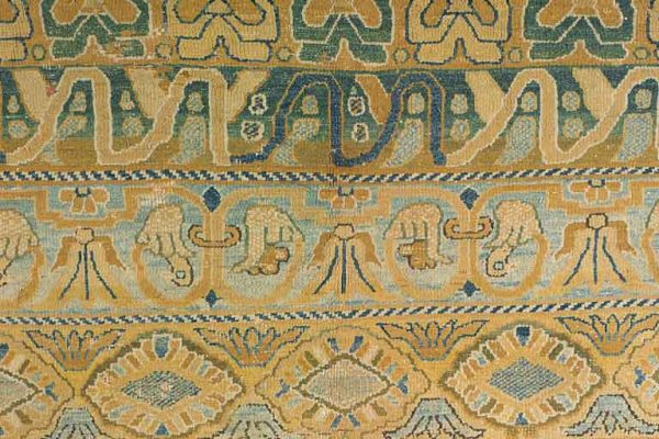 """Detail of an early 17th century Portuguese Armourial Carpet from the Doris Duke Collection. Sized approximately 19'5"""" x 14'10"""". Sold at auction by Christie's for $80,500 (USD) including premium."""