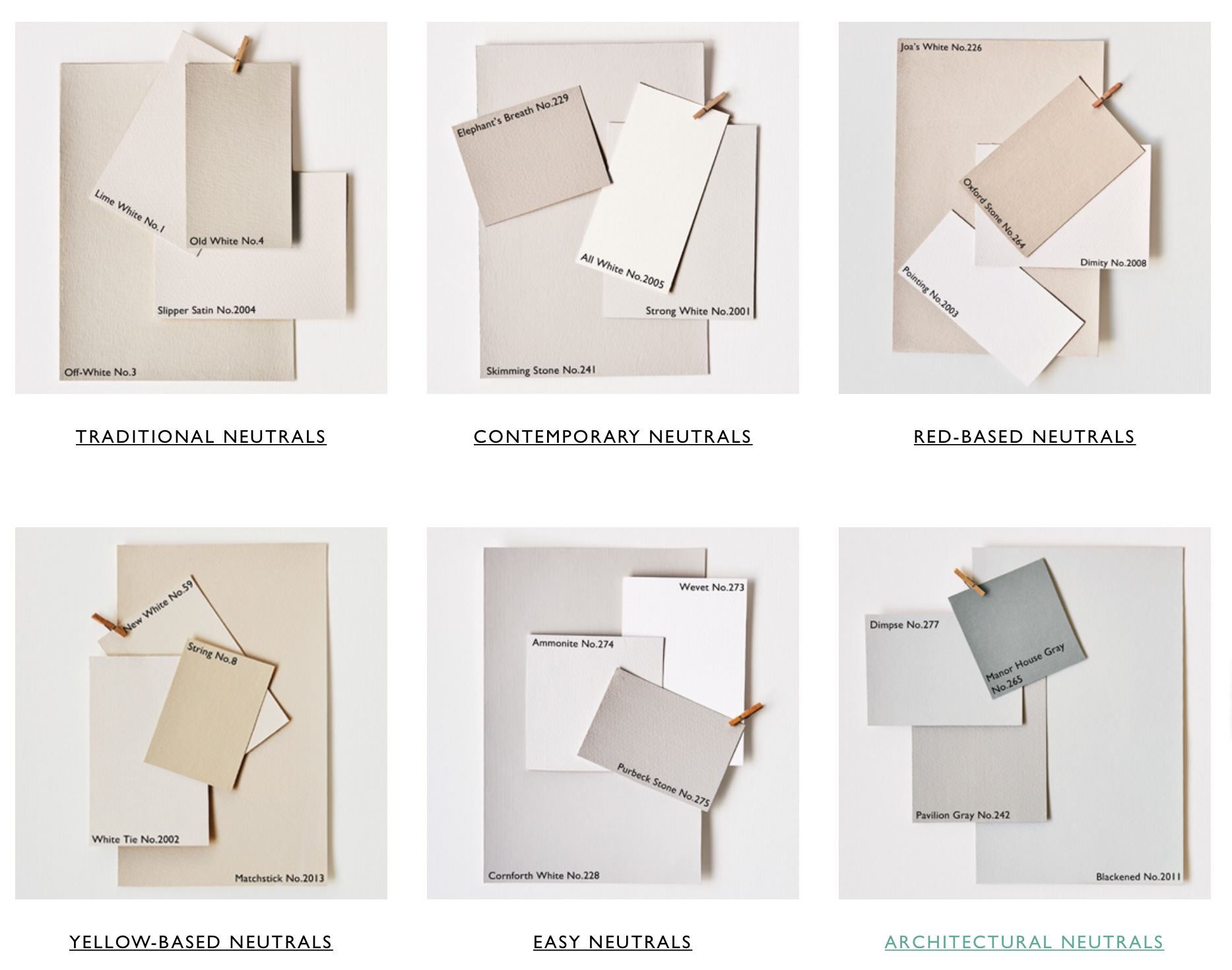 A selection of 'Grieges' from Farrow & Ball | Image from Farrow & Ball used under the Fair Use Doctrine.