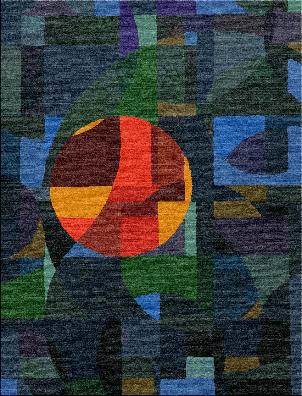 Visualization of the carpet 'untitled' shown in colour Moody Blue by Michael Christie - Based on the original.   Image from The Ruggist