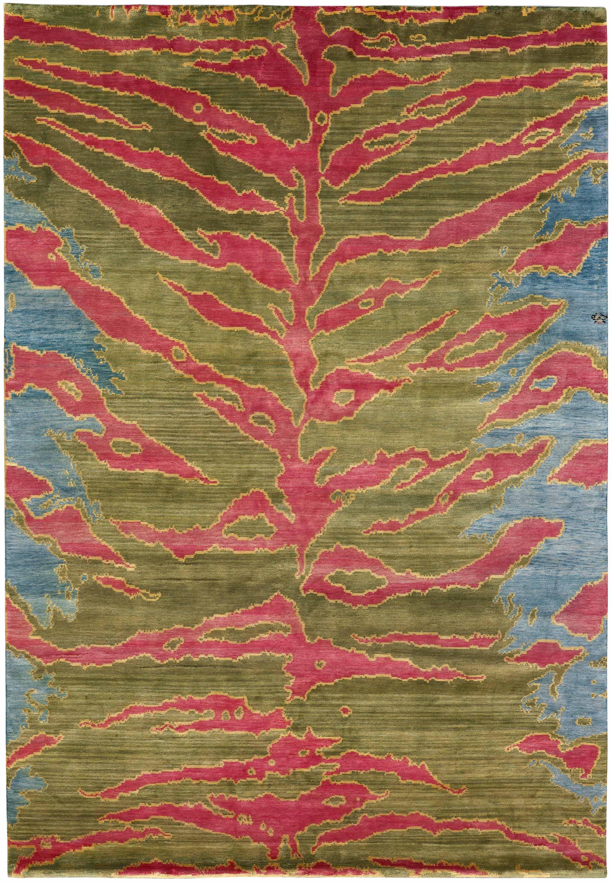 Tiger shown in colour Green by Joseph Carini Carpets - 100% silk handknotted in Nepal.   Image courtesy of Joseph Carini Carpets.