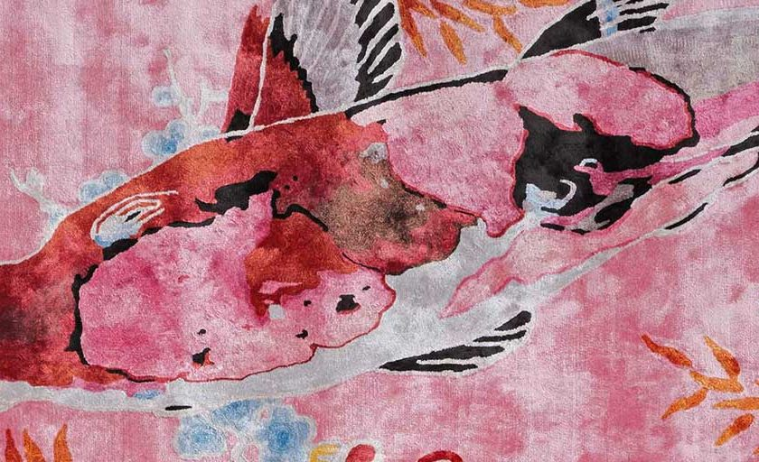 Koi 2 shown in colour Pink by Rug Star by Jürgen Dahlmanns - 100% viscose tufted in China. | Image courtesy of Rug Star.