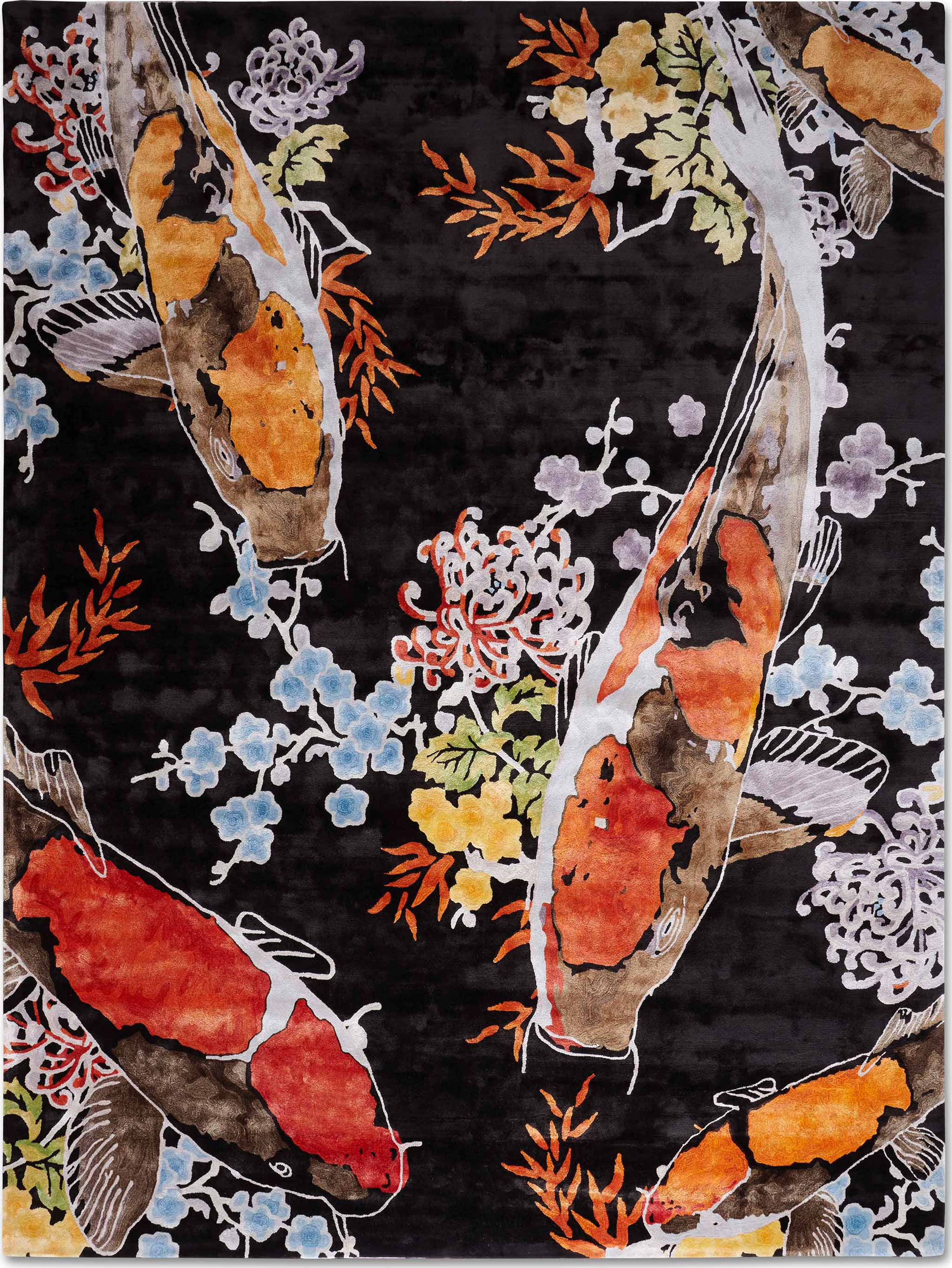 Koi 5 shown in colour Black by Rug Star by Jürgen Dahlmanns - 100% viscose tufted in China. | Image courtesy of Rug Star.