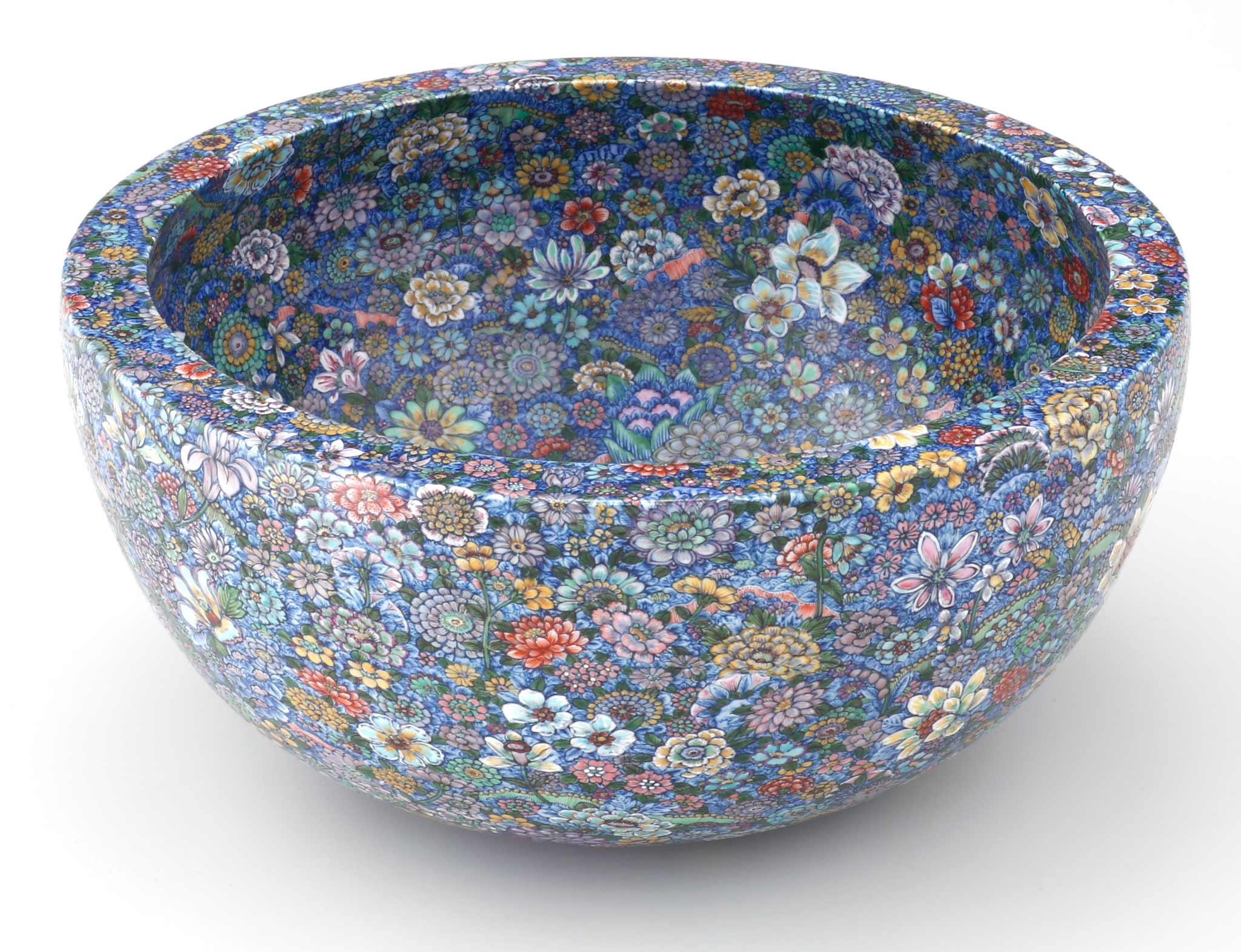 Bowl with 'Ten Thousand Flowers' Motif by Yuki Hayama.   Image courtesy of Joseph Carini Carpets.