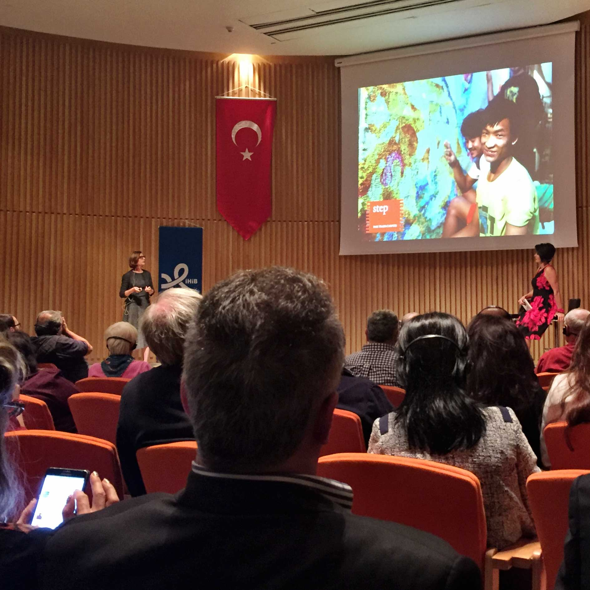 Carol Sebert of Creative Matters is shown speaking about LabelSTEP during her presentation 'Contemporary Carpet Design' during the Istanbul International Carpet Conference, 6 October 2016. | Image courtesy of The Ruggist.