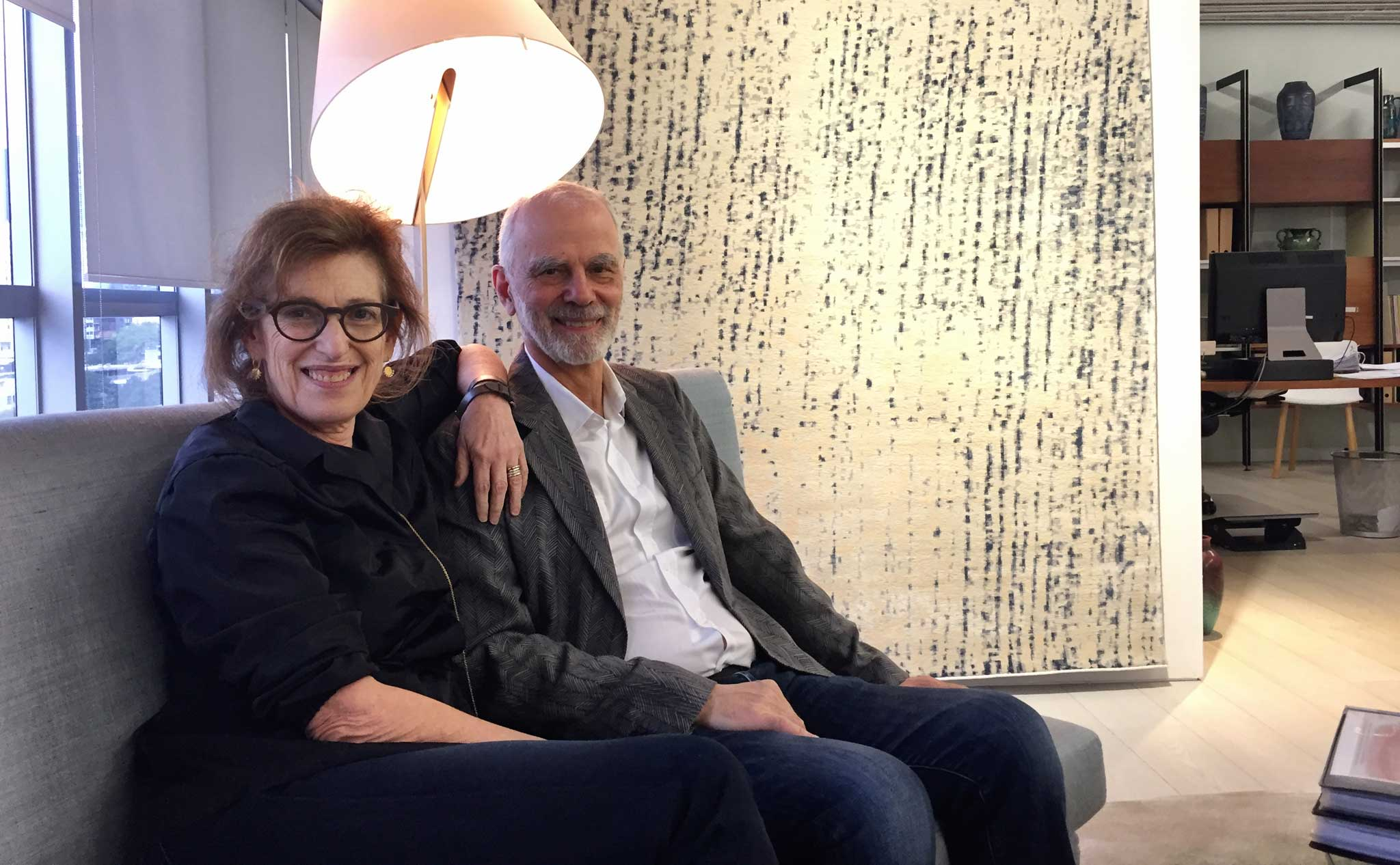 Janis Provisor and Brad Davis of Fort Street Studio in their firm's Hong Kong Showroom.   Image by The Ruggist.