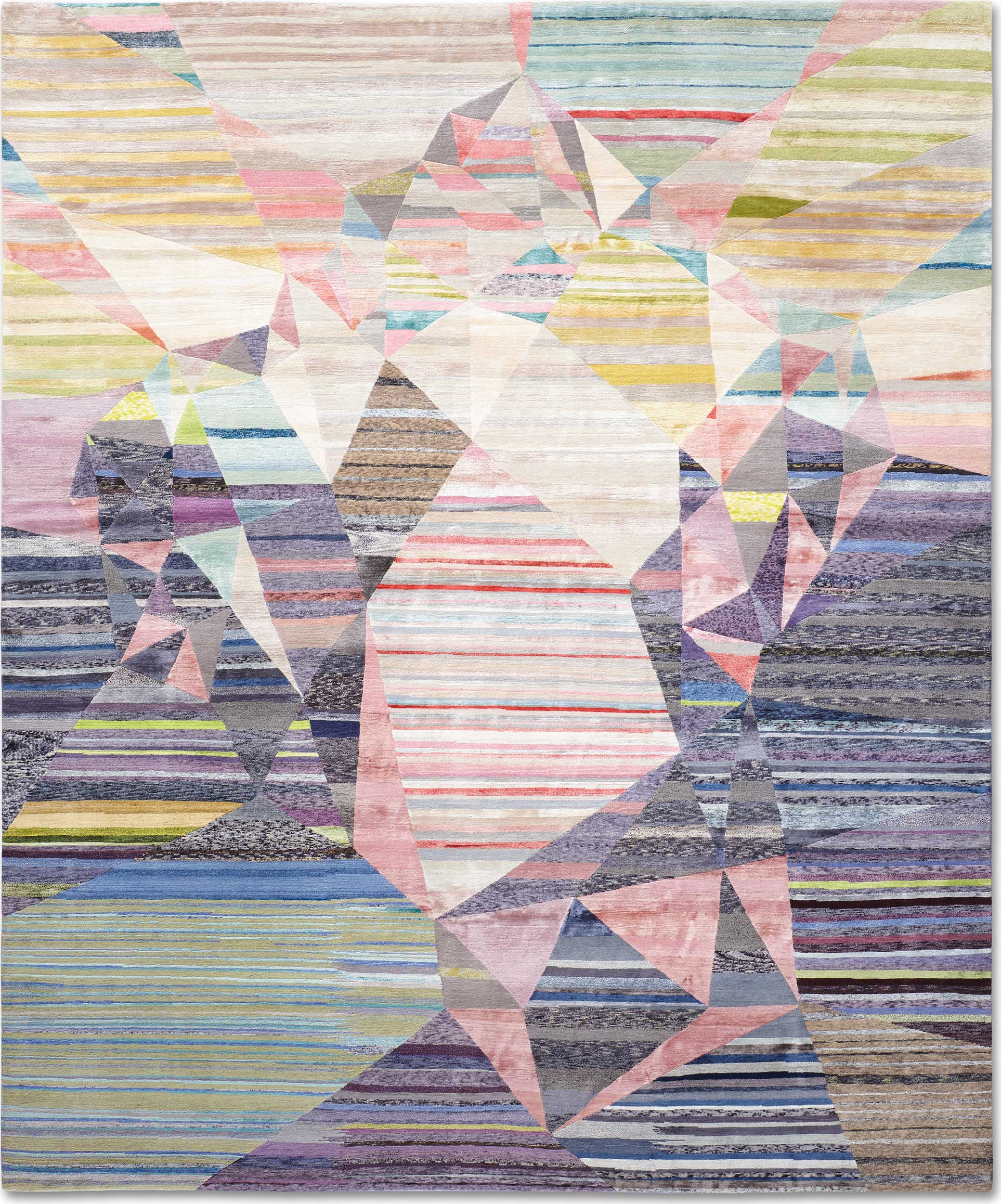 'Heart' by Rug Star by Jürgen Dahlmanns shown in their one-of-a-kind 'Eco' execution which utilizes surplus yarns from their ordinary production to create these extraordinarily unique versions of the firm's carpets. | Image courtesy of Rug Star by Jürgen Dahlmanns.