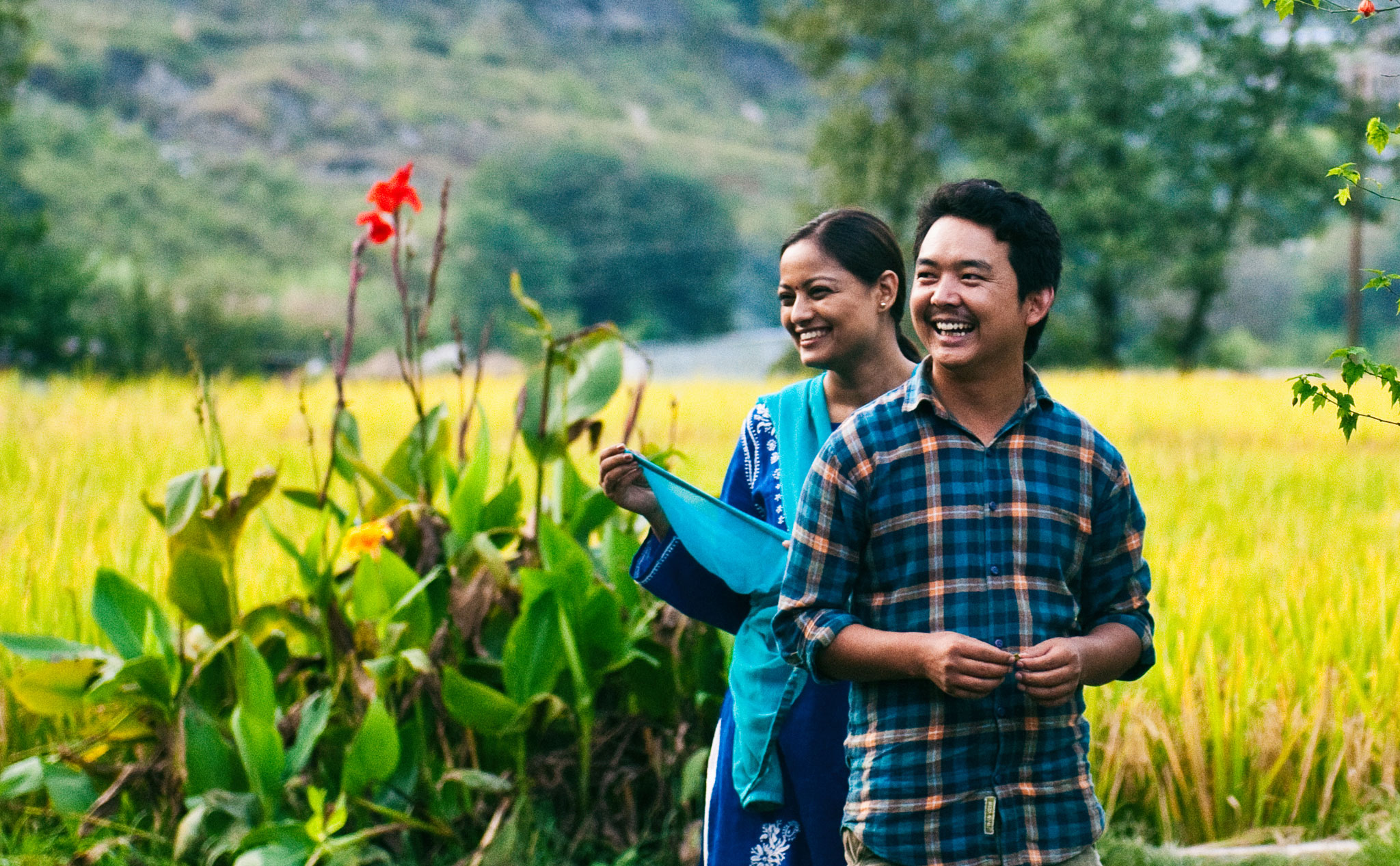 Nepali actress Reecha Sharma and Nepali stage actor Tika Bhakta Jirel enjoying a laugh during a break from filming of 'Nine Million Stars'.   Image courtesy of Jan Kath.
