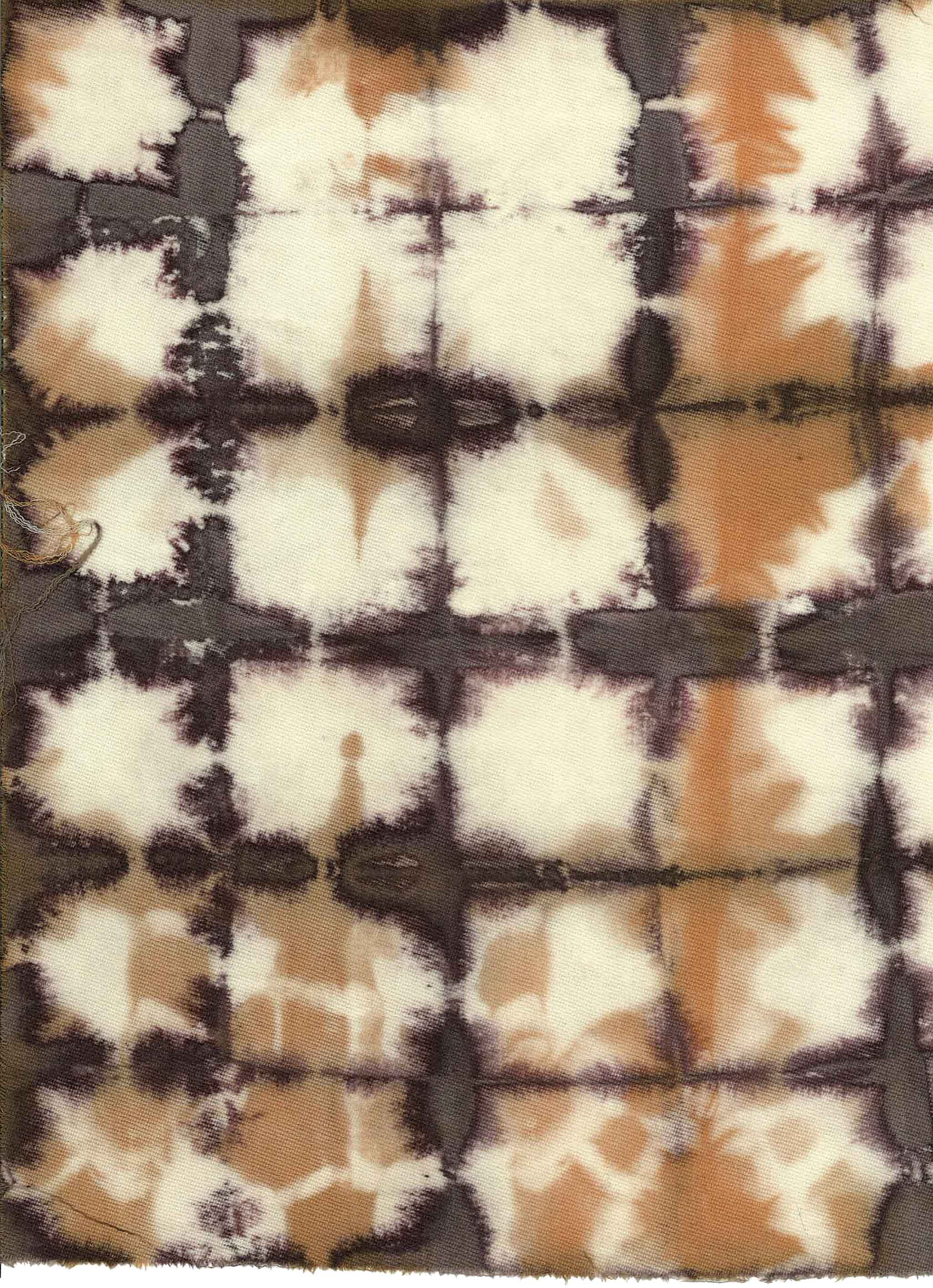 Scan of a piece of dyed/stained cotton made by Michael Christie (The Ruggist) during the Natural Dyes Art Day at Creative Matters. This piece went on to inspire the carpet 'Ichiban' which debuts at The Rug Show at Javits, 10-13 September, 2017. | Scan courtesy of Creative Matters.