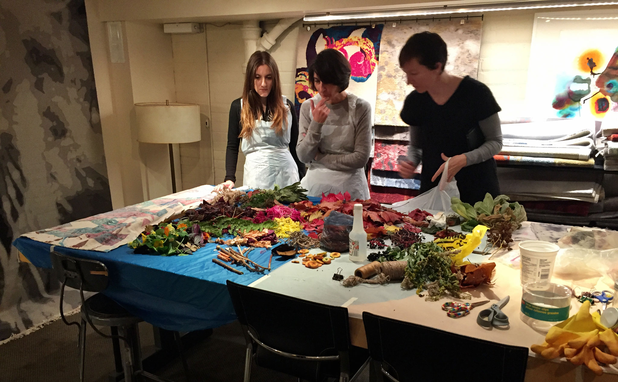 Some of the staff of Creative Matters reviewing the flowers, berries, sticks, and other natural items before the start of the Natural Dyes Art Day, 7 November 2016. | Image by The Ruggist.