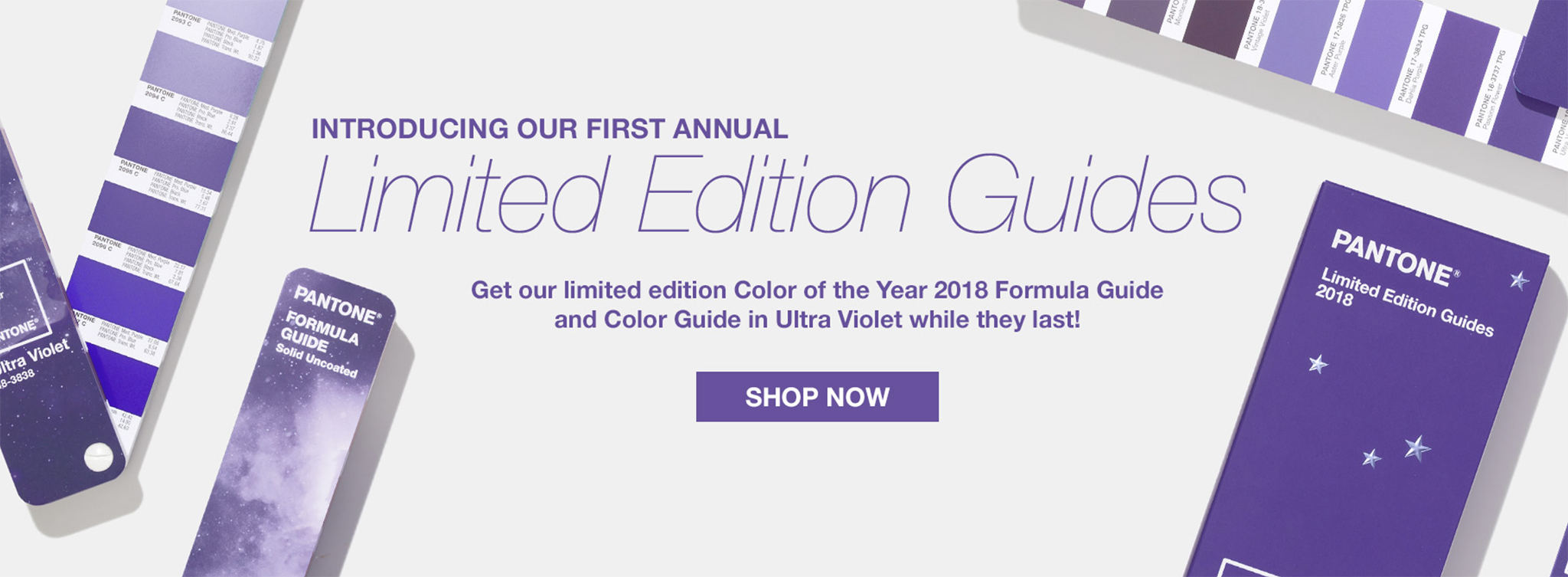 The Pantone Color Institute would like to sell consumers a limited edition guide which is the same as their existing guides except it is graced with the 2018 Color of the Year: 'Ultra Violet'. Whomever thought this up must also not know it's 'inaugural' rather than 'first annual'. | Image courtesy of Pantone under the Fair Use Doctrine.