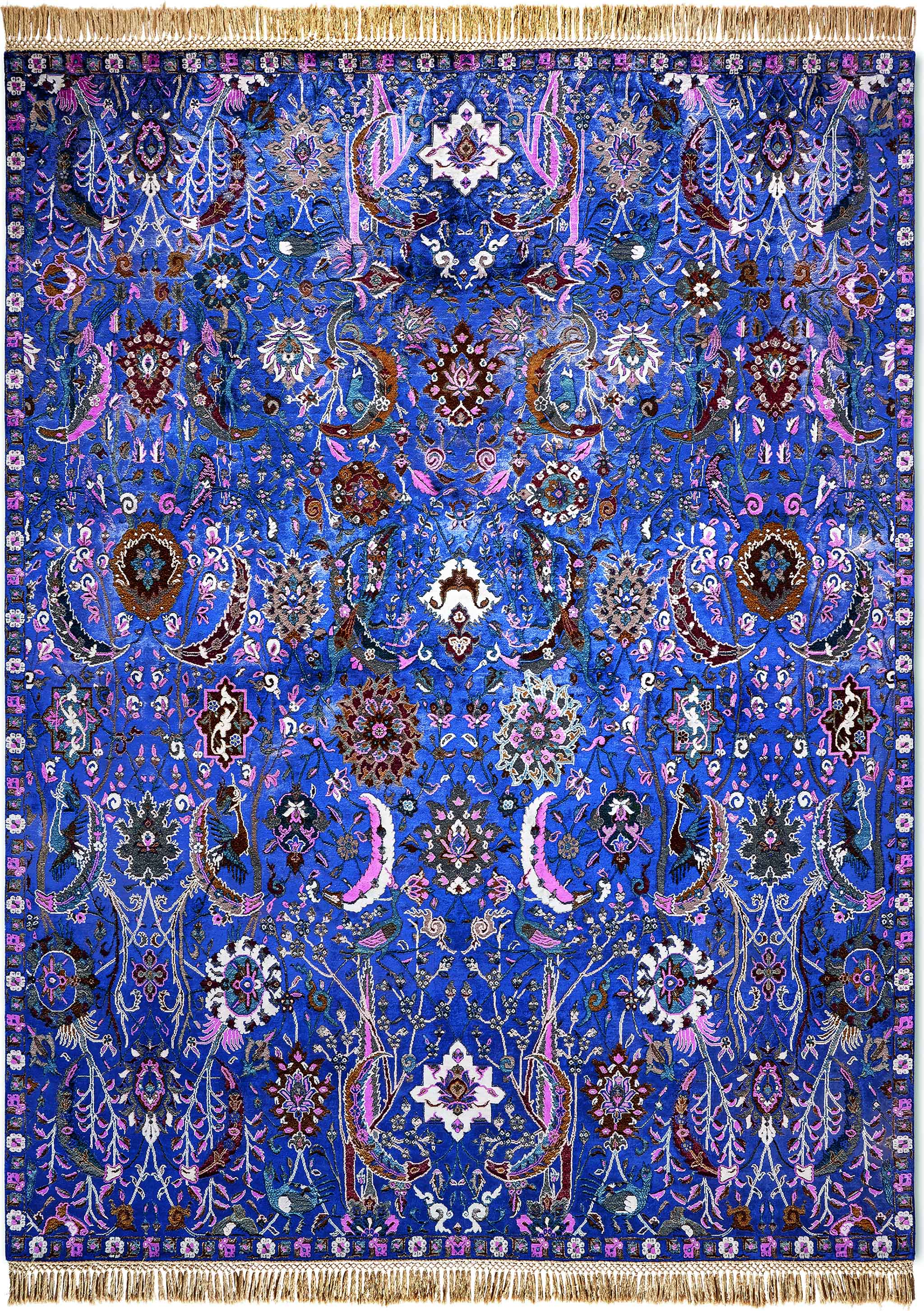 Un-Official Finalist, Best Transitional Design: 'New Classic Reverse Tabriz Midnight Blue' by Rug Star - rugstar.com | Image courtesy of Rug Star via Domotex.