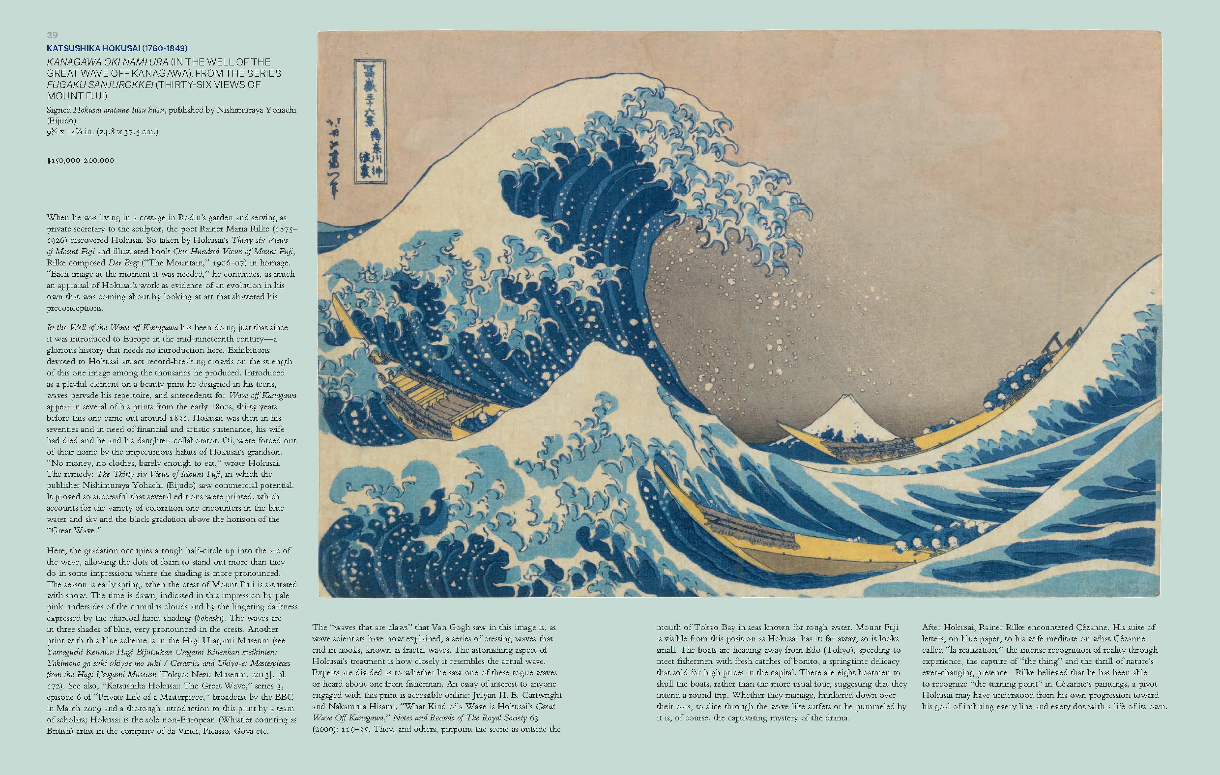 Kanagawa Oki Nami Ura (In the Well of the Great Wave Off Kanagawa) as shown on pages 39-40 of the catalog for the Christie's auction 'Japanese and Korean Art - 18 April 2018'.   Image from the catalog. Fair use by The Ruggist.