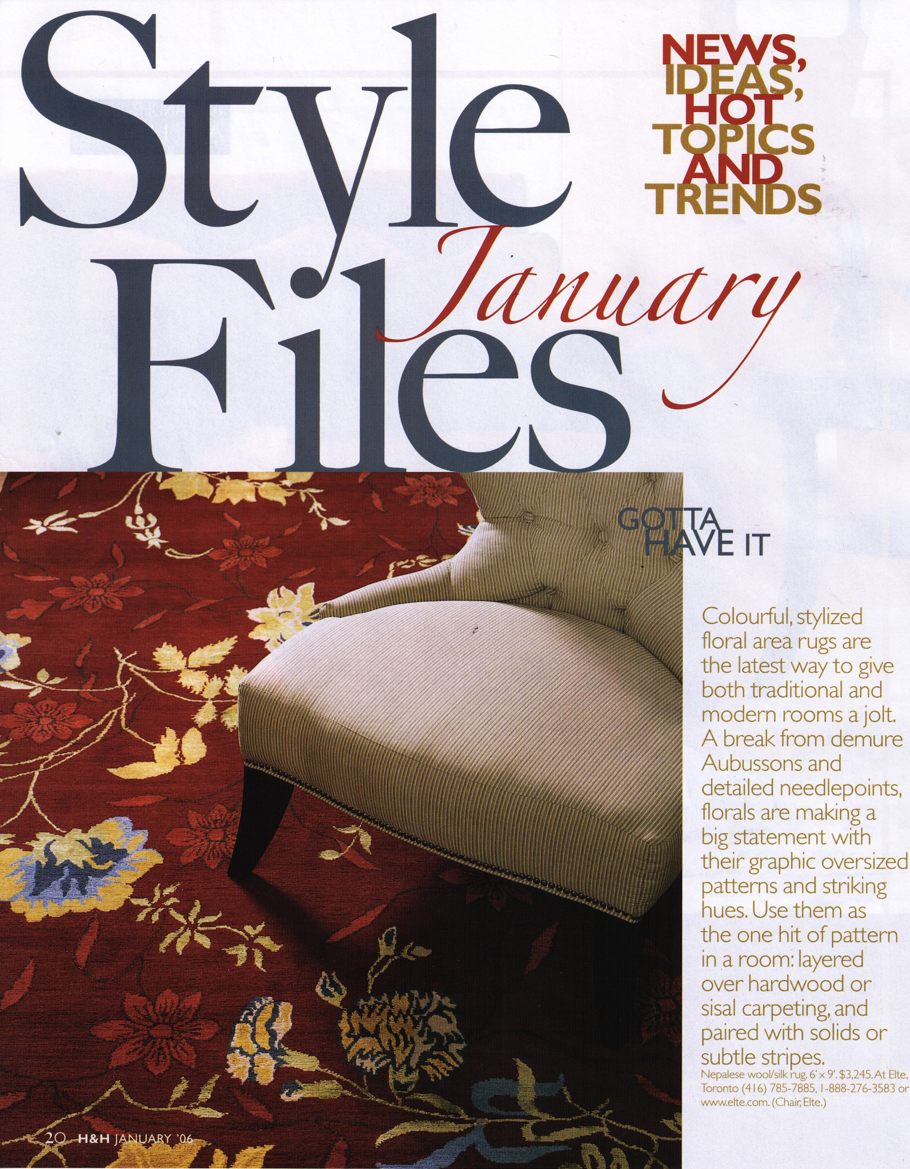 The 'Style Files' page from the January 2016 issue of House and Home magazine featuring a carpet by Elte. | Scanned image of the magazine by The Ruggist.