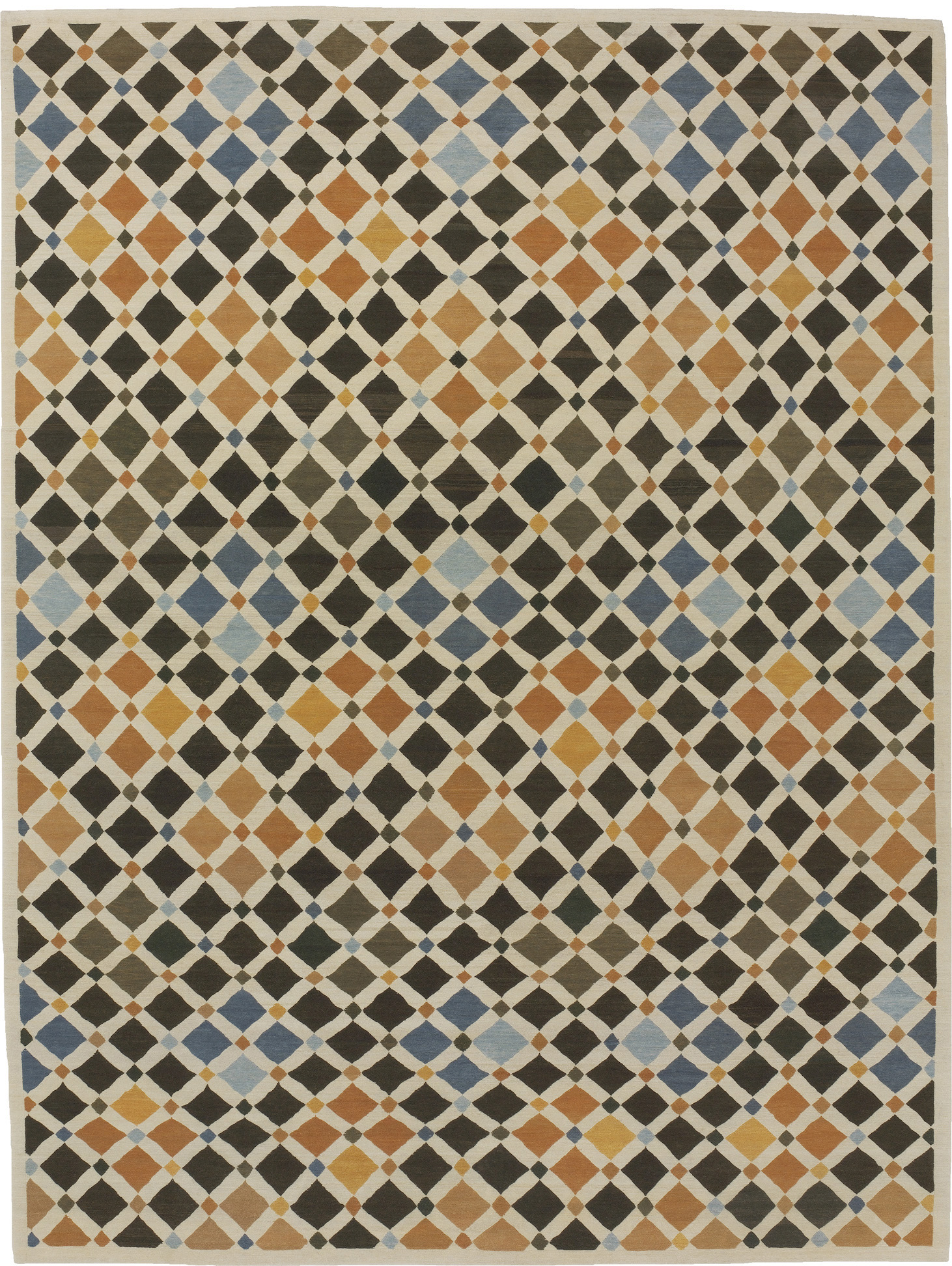 'Tile' by Odegard Carpets shown in their signature 'Youngtse' quality. Tibetan for 'best of the best' Odegard's Youngtse quality was first introduced in 1987 ushering in a revolution in modern handmade carpet design and making.   Image courtesy of Odegard Carpets.
