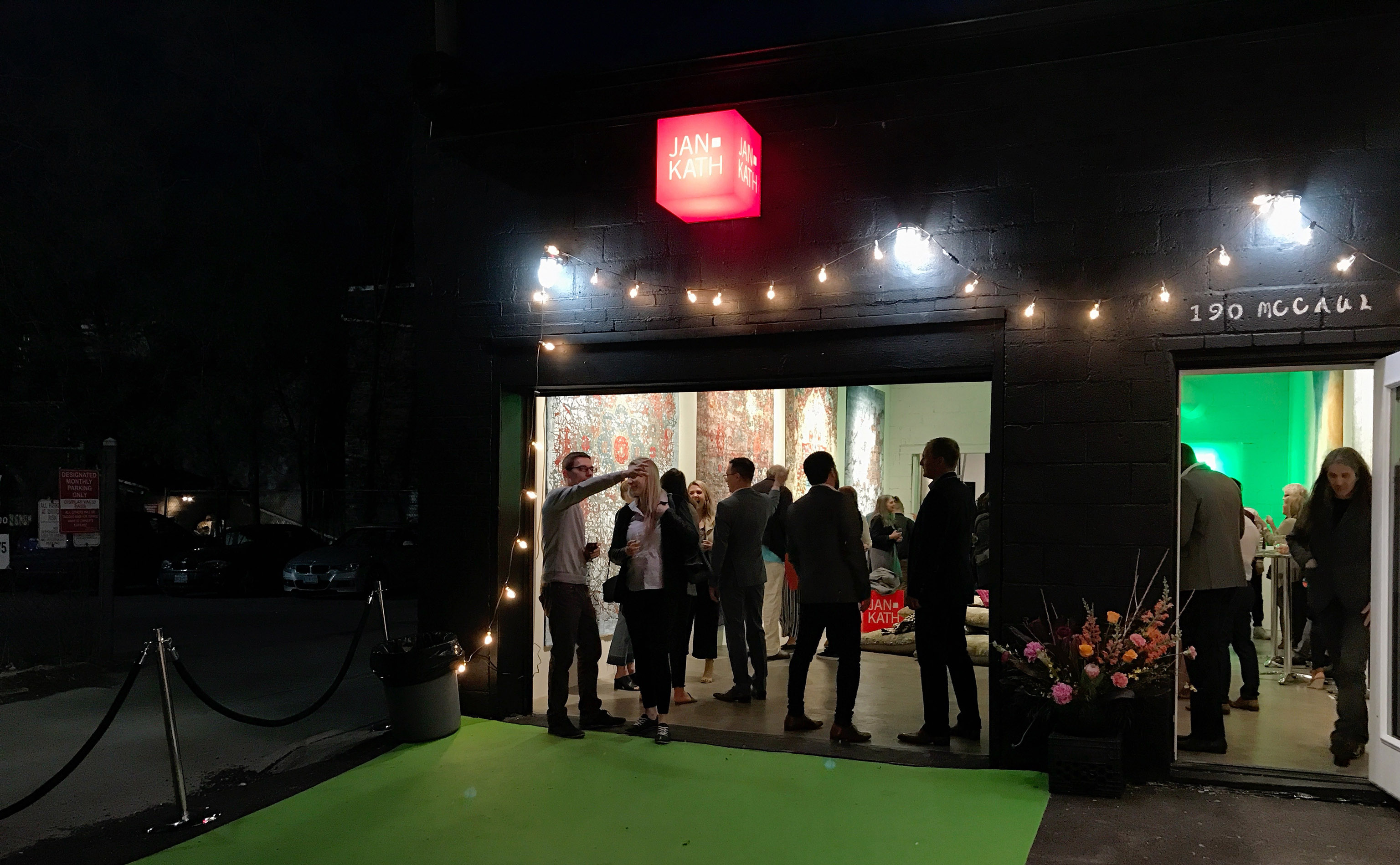 The crowd mingled into the night of Thursday, 10 May 2018 as Jan Kath opened it's latest showroom, it's tenth (Is it?), in Toronto, Ontario, Canada.   Image by The Ruggist.