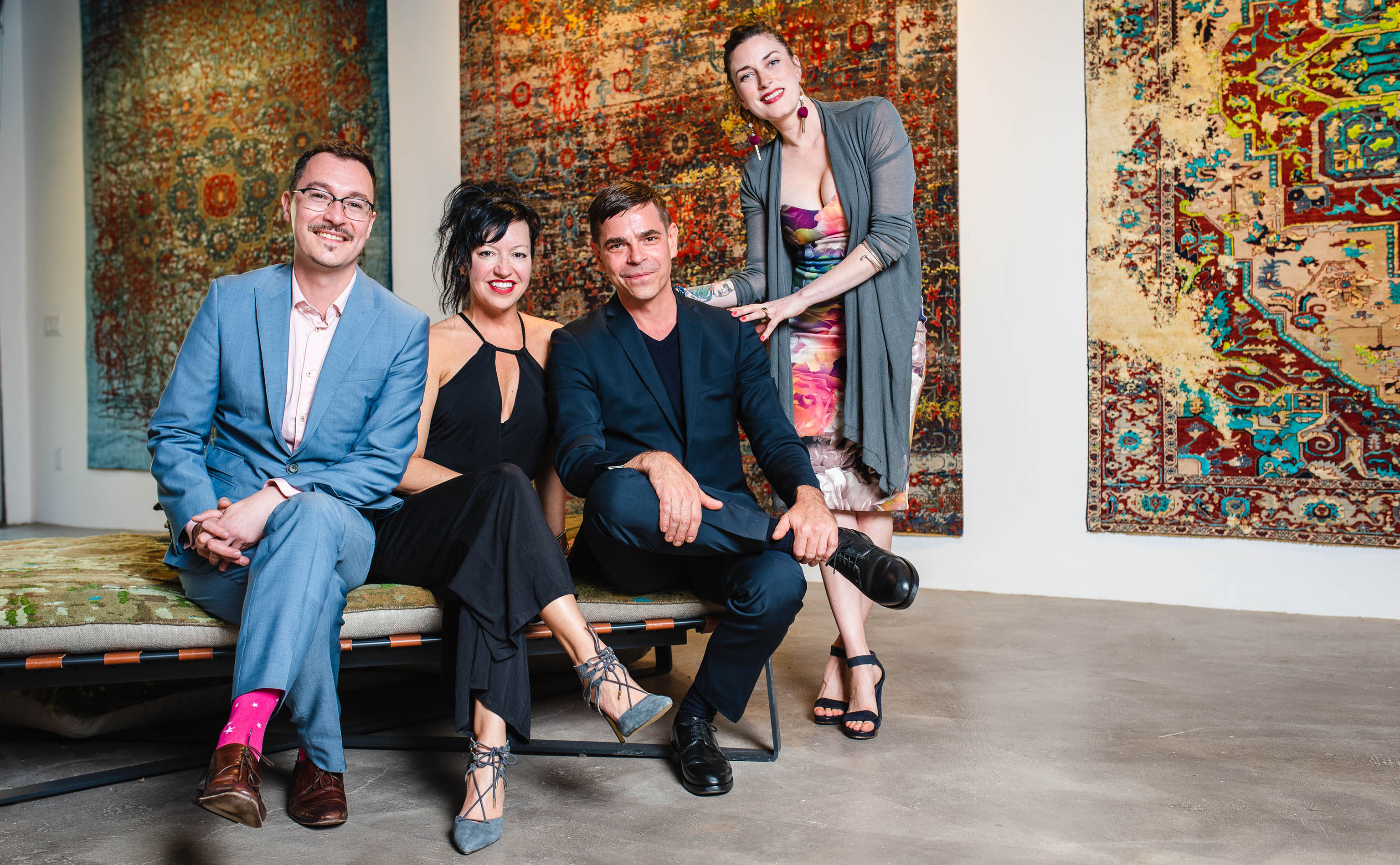 And this is why you hire a professional! Yvan Semenowycz, Jenni Finlay, Jan Kath, and Robyn Waffle (left ot right) shown properly poised in the official photograph shot by photographer Nancy Kim just as the opening party for Finlay and Kath's new Jan Kath Toronto showroom got underway on Thursday, 10 May 2018.   Image courtesy of Finlay and Kath.