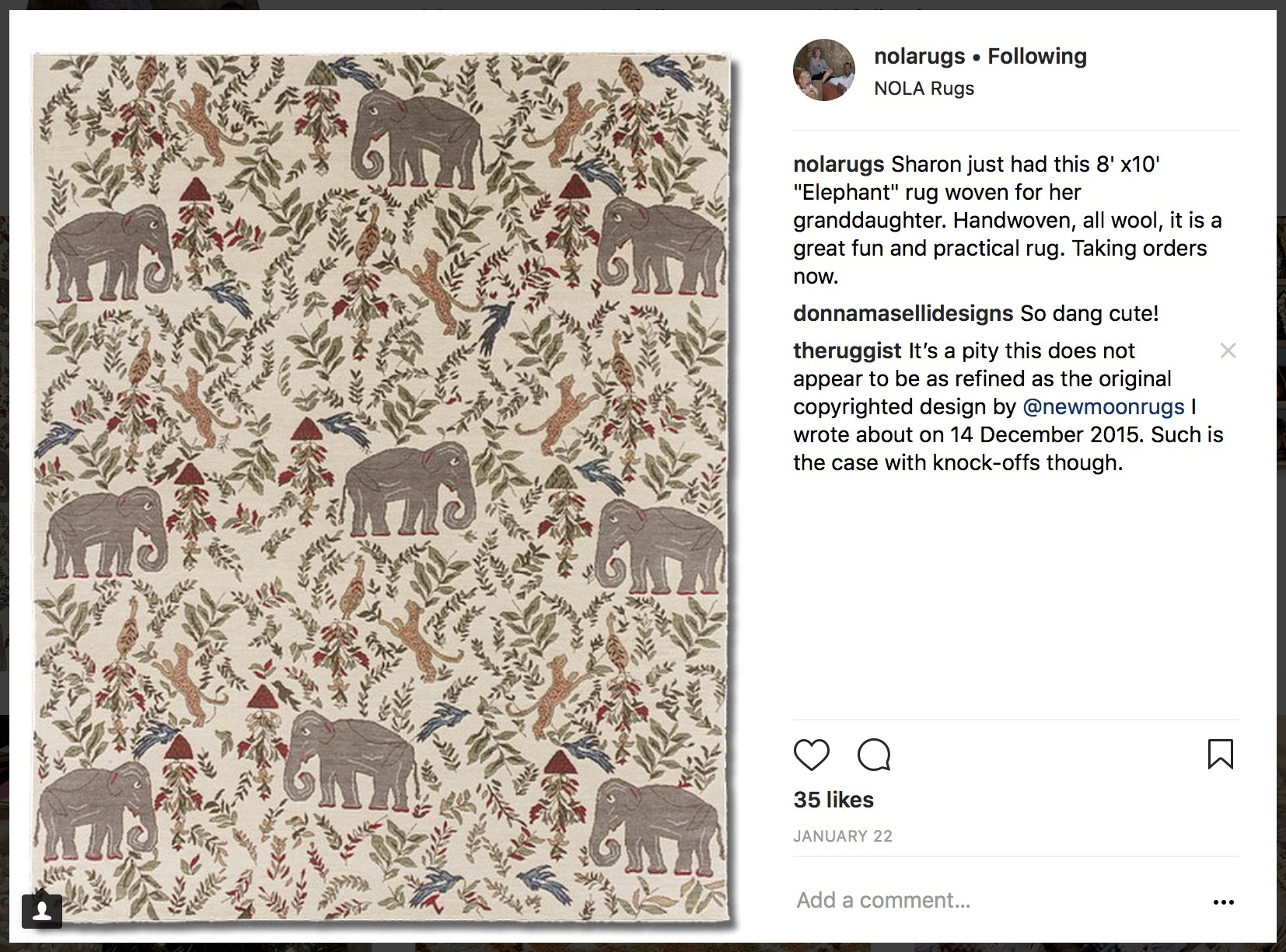 """Screen-capture of an Instagram post by Nola Rugs of New Orleans, Louisiana depicting a knockoff of """"Menagerie' by New Moon.' 