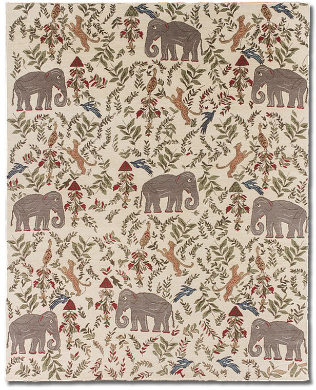 """Knockoff of """"Menagerie' by New Moon' as ordered by Sharon Schenck of Nola Rugs for her granddaughter. 